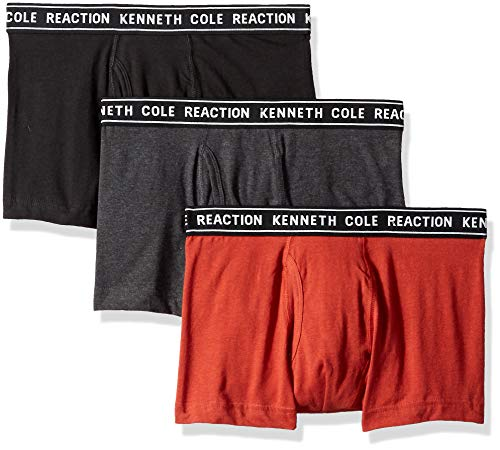 Kenneth Cole REACTION Herren Kenneth Cole 3 Pack Trunk Badehose, Light Grey, Charcoal Heather, Red Ochre, X-Large - Red Light Heather