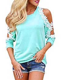 Kavitoz Clearance New Fashion Women Off Shoulder Lace Top Long Sleeve Blouse Ladies Casual Tops Shirt