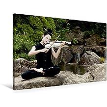 Premium Textil-Leinwand 90 cm x 60 cm quer, Calmando | Wandbild, Bild auf Keilrahmen, Fertigbild auf echter Leinwand, Leinwanddruck: Weiße Geige auf Reisen: Musik als Meditation (CALVENDO Kunst)