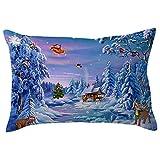 HUYURI Kissenbezug Frohe Weihnachten Leinen Kissenbezüge Sofa Rechteck Kissenbezug Dekoration 11,8
