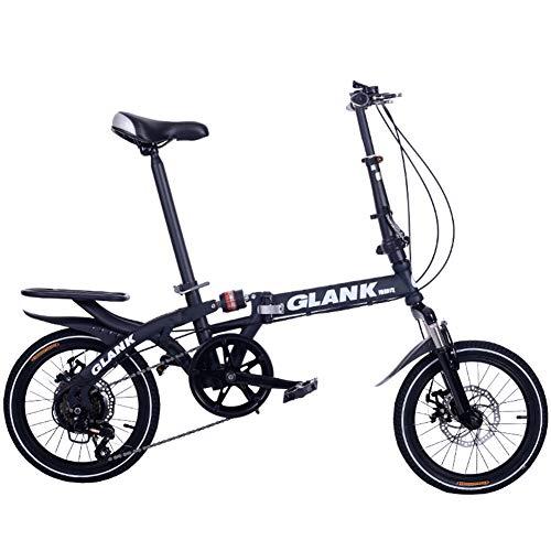 Bicicleta Plegable De 16 Pulgadas, Freno De Disco De Velocidad Variable Mini Bicicleta/Bicicleta De Amortiguador De Viaje De Estudiante Adulto(Black)