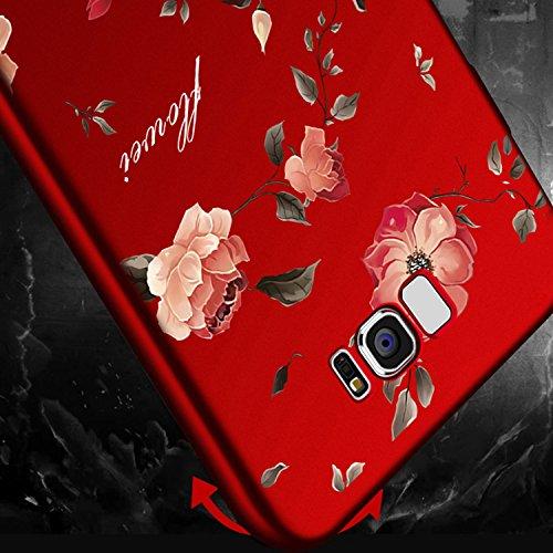 Rouge Très Mince Coque Samsung Galaxy S8 Etui Housse Case Hard PC Matière avec [Protecteur d'écran] [Ultra Mince] [Ultra Léger] Anti-Rayures Anti-dérapante Dur Matte Cover,Sunroyal Élégant Motif Fleur Rouge Peony