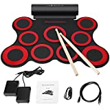 Digital Electronic Drum,Built in Speaker 9 Pads Portable Electronic Roll up Drum Pad kits Foldable Practice Instrument with 2 Foot Pedals and Drum Sticks