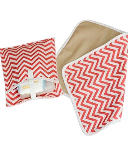 Kadambaby - Baby Waterproof Washable Diaper Changing Mat and pouch - Pink Chevron