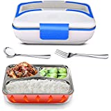 AEC Multi Function Electric Stainless Steel Inner Pot Food Heater Tiffin Lunch Box, 800ml (White-Blue, 220v)