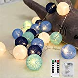 LED Lichterkette Cotton Balls, Vegena LED Lichterkette mit 20 Baumwollkugeln Batteriebetriebene mit Fernbedienung 8 Modi für Garten,Weihnachten, Bäume, Hochzeiten,...