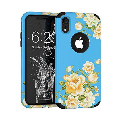 hone XR 2018, Blumenmuster, dreilagig, robust, robust, stoßfest, für Apple iPhone XR 15,2 cm (6 Zoll), blau ()