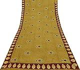 Vintage Indian Art Seide braun Saree Paisley gedruckt Craft