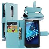 HualuBro Moto X Force Hülle, [All Aro& Schutz] Premium PU Leder Leather Wallet HandyHülle Tasche Schutzhülle Flip Case Cover für Motorola Moto X Force Smartphone (Blau)