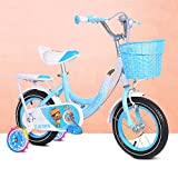 Fenfen Kinderfahrräder 6-9-jährige Mädchen Fahrrad 18-Zoll-Kinderwagen High-Carbon-Stahl-Fahrräder, Pink/Blau (Color : Blue)