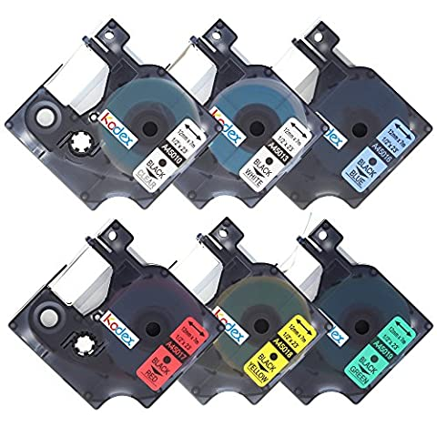 Kodex 6x 45010 45013 45016 45017 45018 45019 Compatible DYMO D1 Label Tapes Color Combo Set Black on Clear White Red Blue Yellow Green Replacement labels 1/2