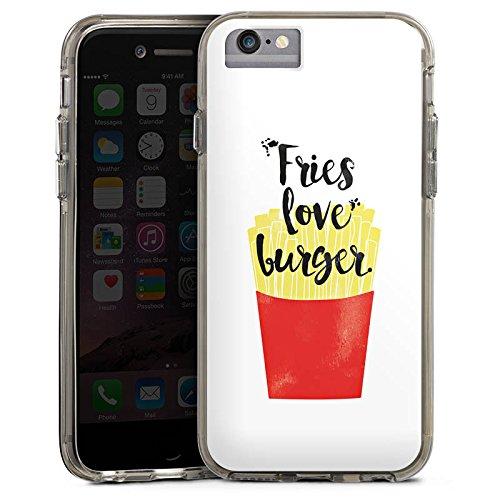 Apple iPhone 7 Bumper Hülle Bumper Case Glitzer Hülle Pommes Fast Food Fastfood Bumper Case transparent grau
