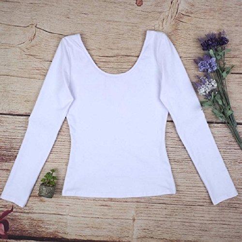 OverDose Damen Backless Art und Weise U-Kragen Baumwolle Langarm Casual Tops Weiß