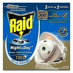 Raid Insekten-Stecker, Zum Schutz vor fliegenden und kriechenden Insekten bei Tag und Nacht, Bis zu 300 Stunden, Night und Day Trio Insektenstecker Original