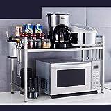 JSSFQK Étagère de Cuisine en Acier Inoxydable à 2 étages, étagère de Rangement pour comptoir sur Le Plancher, à Un côté, escamotable 55-85 cm Grille du Four à Micro-Ondes (Couleur : C)