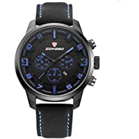WENY Reloj para Hombre de Cuero de Cuarzo analógico, Delgado, Reloj Deportivo, Reloj Resistente al Agua con Estilo (Color : Blue)