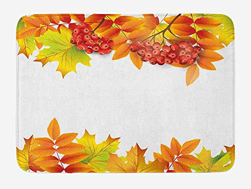 JIEKEIO Rowan Bath Mat, Autumn Branches Border Design with Ashberries and Dried Leaves Graphic, Plush Bathroom Decor Mat with Non Slip Backing, 23.6 W X 15.7 W Inches, Yellow Orange Lime Green Leaf Border