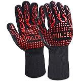 MILcea Grillhandschuhe Ofenhandschuhe Grill Handschuhe zubehör Hitzebeständige bis zu 800 ° C Universalgröße Kochhandschuhe Backhandschuhe für BBQ Kochen Backen und Schweißen-Klassisch (Rot)