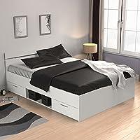 Preisvergleich für Funktionsbett 140*200 cm weiß inkl. 2 Bettschubkästen Kinderbett Jugendbett Jugendliege Bettliege Bett Jugendzimmer Kinderzimmer