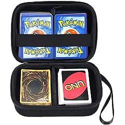 Cpano Bolsa de Almacenamiento de Transporte de Estuche rígido para Tarjetas de Comercio Pokemon, Titular de Juego de Cartas con Divisor extraíble (Negro)