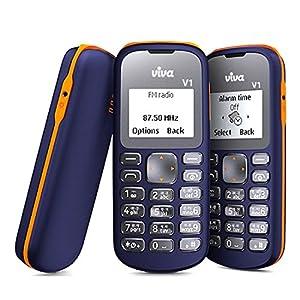 Viva V1 (Single SIM, 1.44 Inch Display, FM Radio, Blue & Orange)