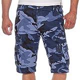 Cipo & Baxx Herren Jeans Shorts Bermuda CK179 Militärmuster Camouflage (34, Blau/Camouflage)