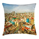Travel Decor Werfen Kissenbezug, von ambesonne, Panorama von Havanna City Vedado District in Kuba Old Bunte Häuser Historic, dekorative quadratisch Accent Kissen Fall, multicolor, Textil, Multi 1, 18