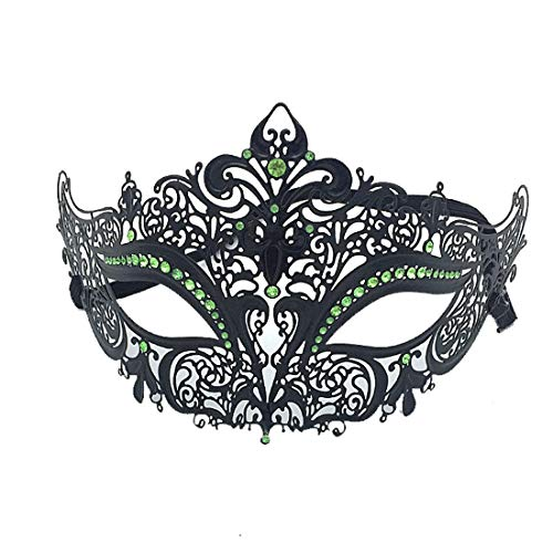 VJUKUBWINE Sexy Women Es Black Vintage Masquerade Ausgefallene Kleid Masken Glänzende Strasssteine Venezianischen Eyemask-Halloween Mardi Gras Party Maske Halloween Women Cosplay Fashion,LightGreen
