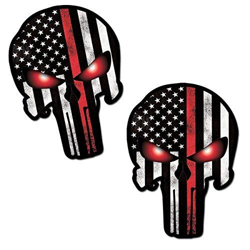 Skino 2 x The Punisher Skull Teschio Adesivi Vinile Bandiera Stati Uniti Stickers USA flag Decal Decalcomania Per Auto Moto Finestrìno Porta Casco Scooter Bici Camper Motociclo Tuning B 25