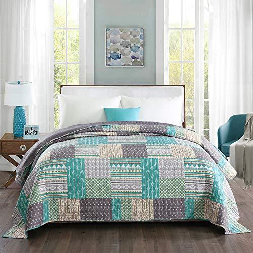 WOLTU Couverture de lit Patchwork, jeté de lit Couvre-lit matelassée pour lit Double,#1077-2