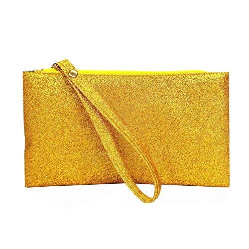 0miaxudh pochette, portafoglio lungo da donna con tinta unita glitter, portamonete, portatelefono golden