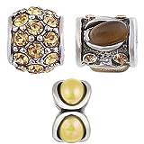 Beads Charms Elements für Armband Edelstahl Perle bettel Charms Bead Silber Original Swarovski Strass steine Kompatibel mit Pand viele modele und farben 3er Angebot Set Braun - Akki BR 01