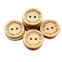 Dosige 100PCS Handmade with Love Wooden Button Round Shape Delicate Wood Buttons for Sewing and Crafting
