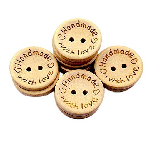 """Dosige - 100 bottoni in legno con incisa la scritta in inglese """"Handmade with love"""", rotondi, delicati, per cucito e lavori artigianali"""