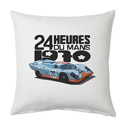 Blue Ray T-Shirts Le Mans 1970Winner Porsche 917Iconic Race Auto–Weiß Canvas Kissenhülle 45x 45cm, quadratisch, verdeckter Reißverschluss