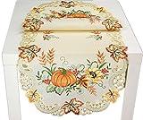 Markenlos herbstliche Tischdecke 45 x 110 cm Oval Creme Kürbis Bunt Gestickt Herbst-Tisch-Läufer Halloween-Tisch-Decke (Tischläufer 45x110 cm)