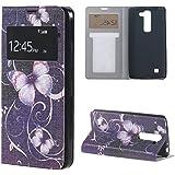 LG G4C H525N Funda Piel,Funda de Piel Flip View Window Case Cover para 5'' LG G4C H525N/LG Magna H500F con Función Soporte-Mariposa púrpura