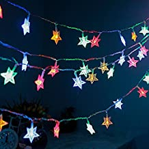 [Control remoto y temporizador] guirnalda de luces para exterior funciona con pilas, M & T Tech 17.3Ft/50LED Estrella guirnalda de cadena de luces con 8modos de función para Camping, jardín, casa, interior, Niños Dormitorio, boda, fiesta de Navidad (Multi Color)