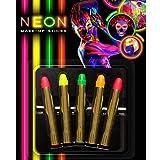 NET TOYS Neon Schminkstifte Bunte Schminke 5er Set Schwarzlicht Schminkset 80er Jahre UV Make Up