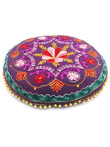 Orientalischer runder pouf aus Baumwolle 75cm inklusive Füllung | Marokkanisches Sitzkissen Sitzpouf Kissen rund Mirza ø 75cm Rund | Orientalisches rundes