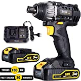 Impact Driver, TECCPO 180Nm Cordless Impact Driver 18V, 30min Fast Charger, 2 Batteries 2.0Ah, 6.35mm Quick Chuck, 2900RPM Max Speed – TDID01P