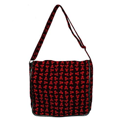 Bolsa en negro con los calaveras rojas