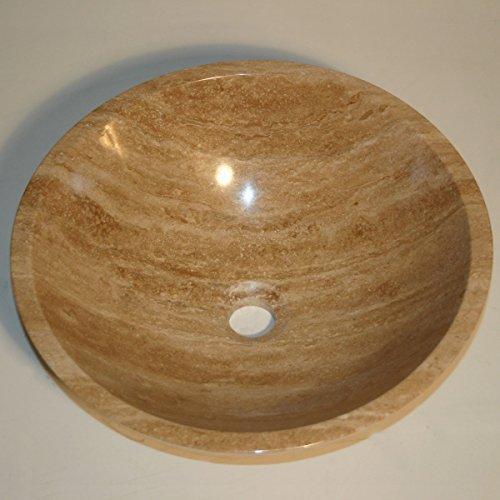 Silkroad Exclusive Natural Travertine Stone Top Sink Vessel Basin Bowl Bathroom Vanity by Silkroad Exclusive Inc (Inc Exclusif)
