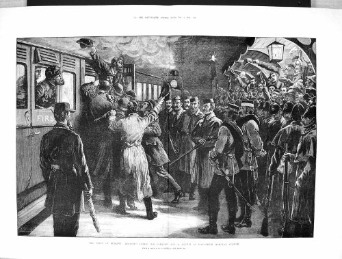 La Copie Antique de l'Homme 1881 de Gare Ferroviaire de l'Irlande Roscommon A Arrêté la Coercition… par original old antique victorian print