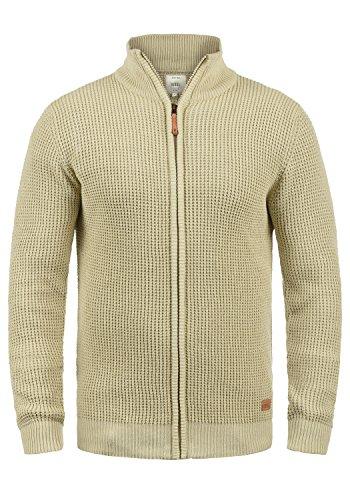 Redefined Rebel Mongo Herren Strickjacke Cardigan Grobstrick Winter Pullover mit Stehkragen, Größe:XL, Farbe:Sand