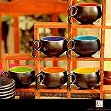 Unravel India Multicolored Ceramic Cup Saucer (Multicolour) -Set of 6