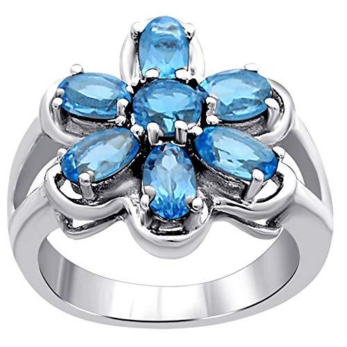 Orchid Jewelry Unisex Damen - Sterling-Silber 925 Sterling-Silber 925 Rund Oval Blue Blauer Topas/Saphir (Schweizer Blau)