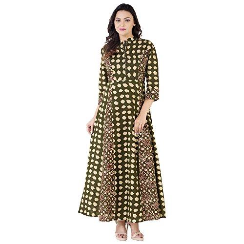 Khushal-Womens-Cotton-Anarkali-Green-Kurta-Kk-07-Cotton-IndigoLook-MehGreen-MMedium