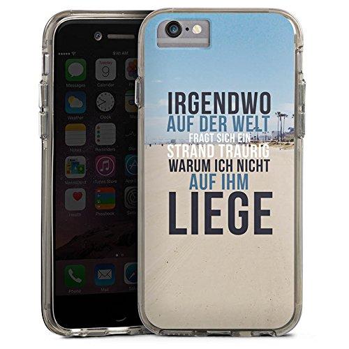 Apple iPhone 6 Bumper Hülle Bumper Case Glitzer Hülle Strand Beach Summer Bumper Case transparent grau