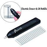 Ambielly eléctrica goma de borrar, kit eléctrico Borrador con 20pcs Eraser recargas, con pilas del borrador de lápiz y carbón de leña (Borrador eléctrica)